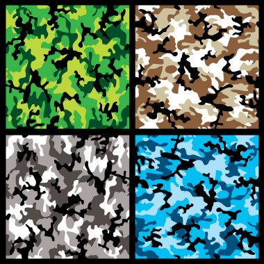 Collection of four different abstract colored camouflage backgrounds stock vector