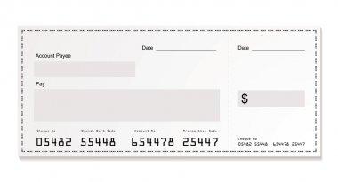 White dollar cheque