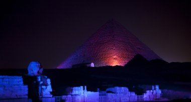 Colored lights on Sphinx Pyramids