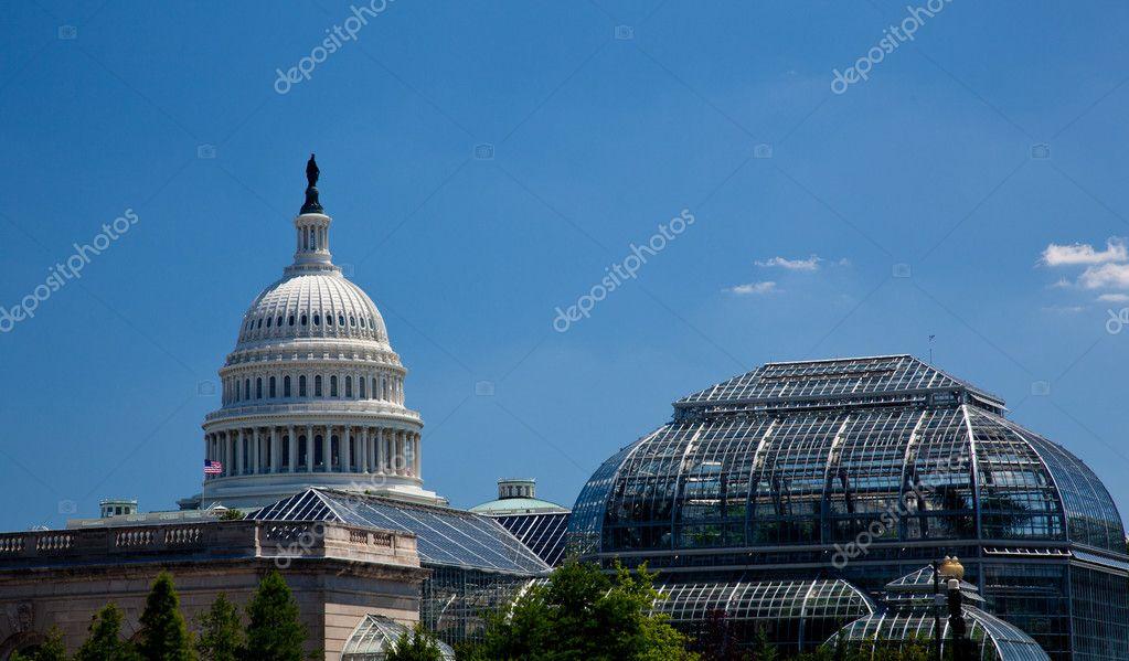Capitolio rodeado de jardines botánicos — Foto de stock © steveheap ...