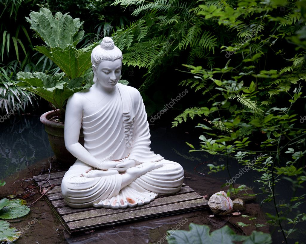 buddha statue in pond stock photo steveheap 3698063. Black Bedroom Furniture Sets. Home Design Ideas