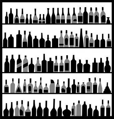 Silhouette alcohol bottles