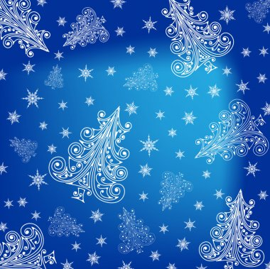 Christmas trees blue background