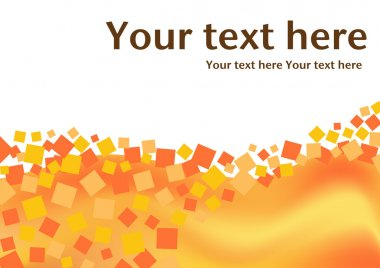 Orange squares background with text