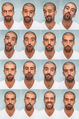 Youg Man Performing Various Expressions with his Face