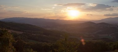 Panoramic View of Sunset in a Mountain Landscape