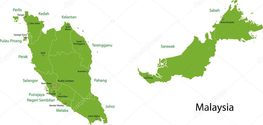 Malaysia map Stock Vector Volina 2984797