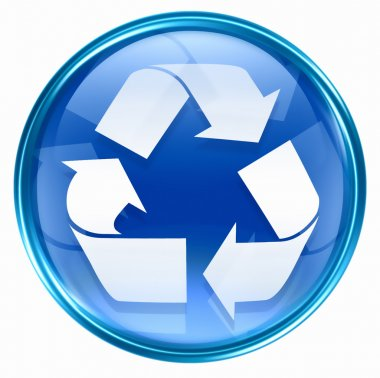 Recycling symbol icon blue.
