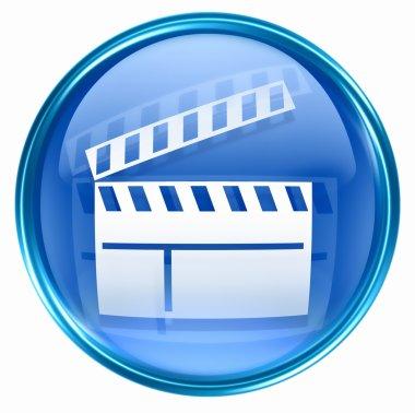 Movie clapper board icon blue.