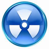radioaktivní ikony modré, izolovaných na bílém pozadí
