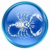 Fotografia icona del pulsante zodiacale Scorpione, isolato su sfondo bianco