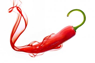 Red hot chili pepper with smoke