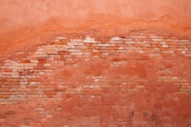 Old wall brick and stucco