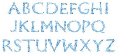 Alphabet made of frozen water