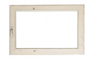 Very old window frame isolated on white background with clipping path stock vector