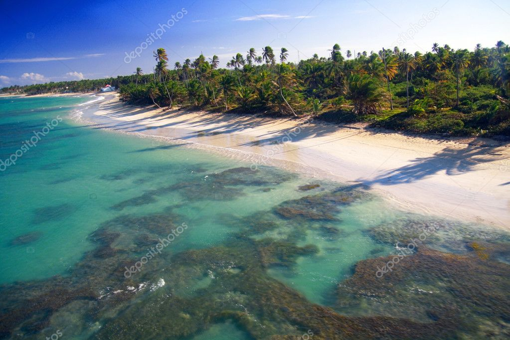 Caribbean beach from helicopter view