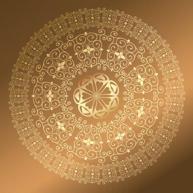 Baroque pattern round gold