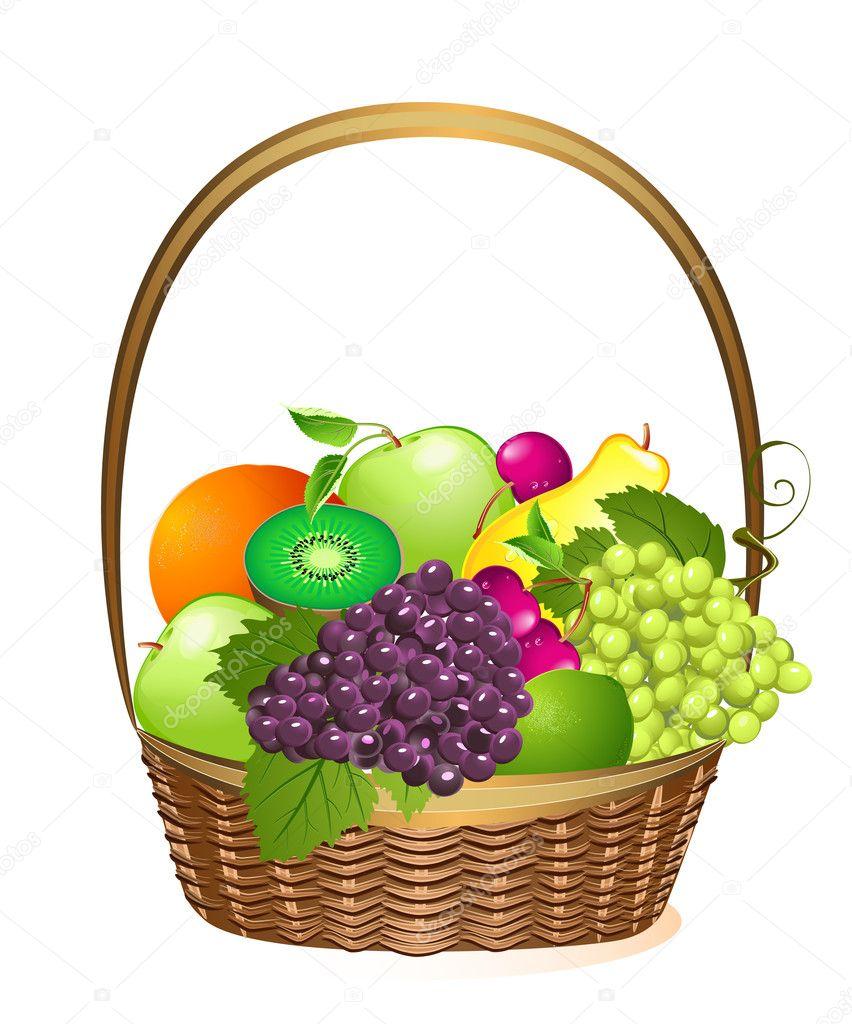 Wicker basket with fruit : Wicker basket with fruit stock vector ? oksana