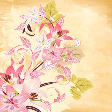 Flowers on papyrus background
