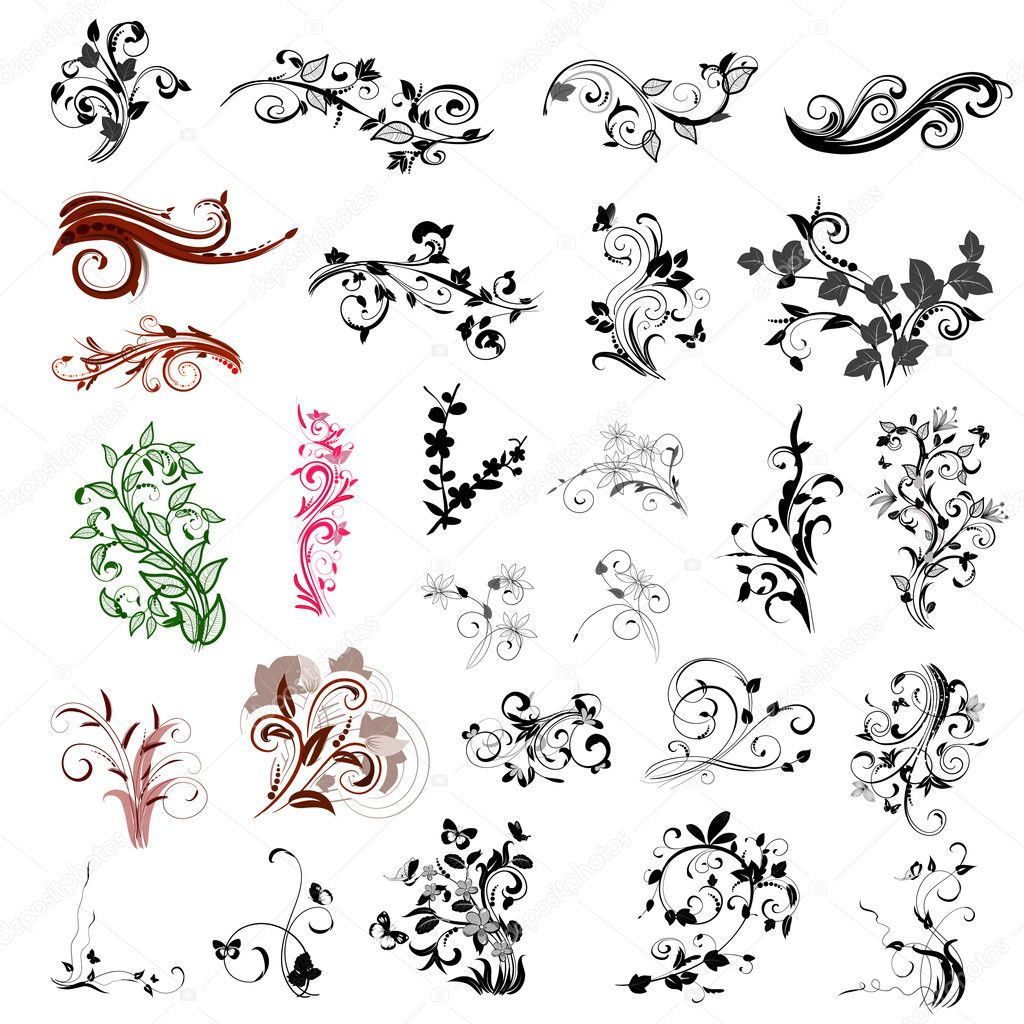 Set of abstract floral patterns