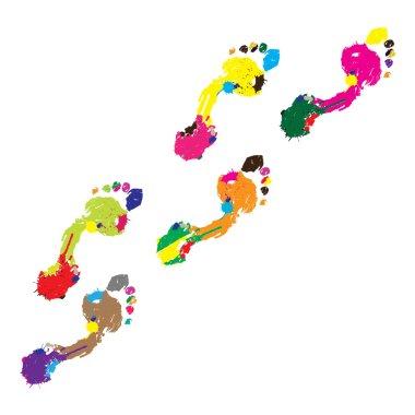 Prints of a human foot.Vector illustration