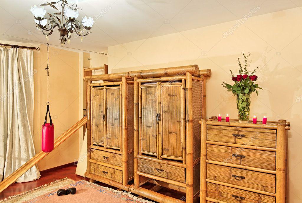 Dřevěné Etnické Bambusový Nábytek Stock Fotografie
