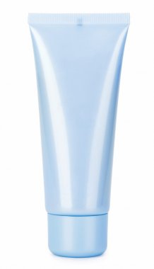 Blue cosmetics cream tube isolated on white