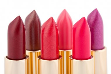 Multicolored color lipsticks arranged in two lines