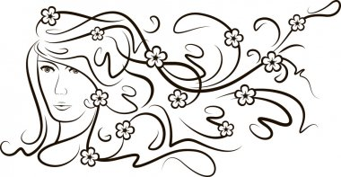 Girl with flutter hair and flowers.