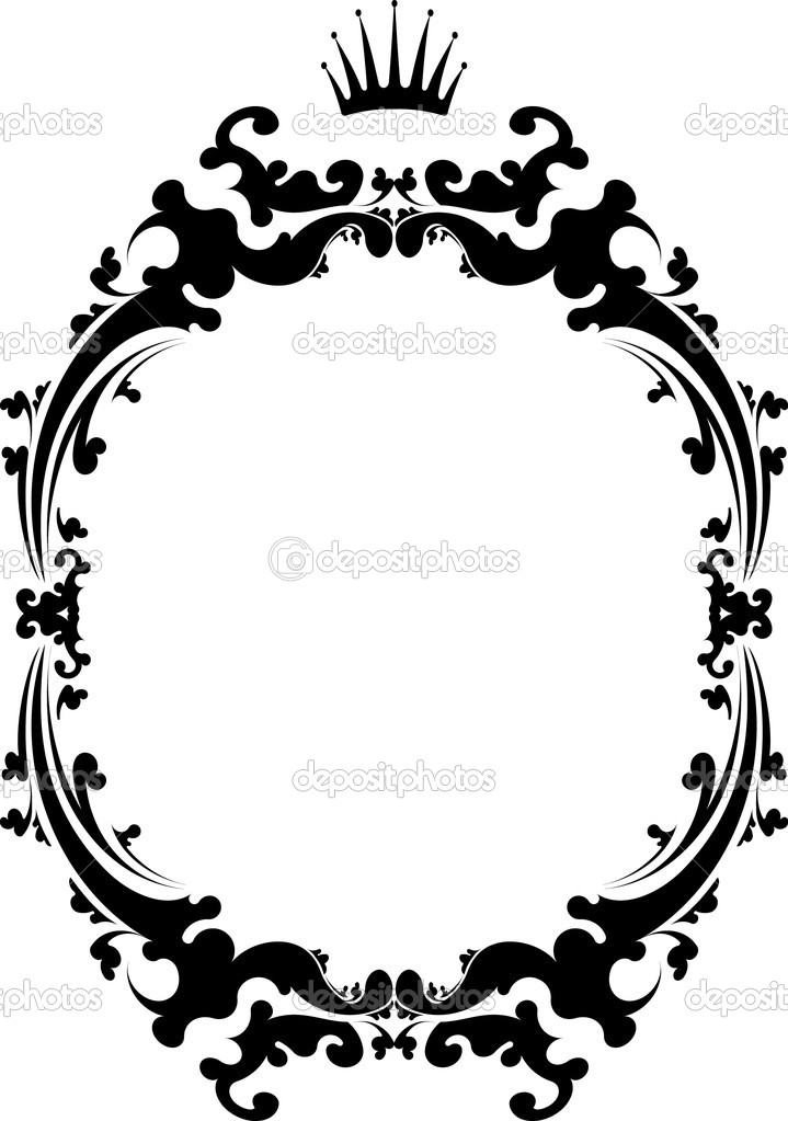 decorative vintage frame with crown stock illustration