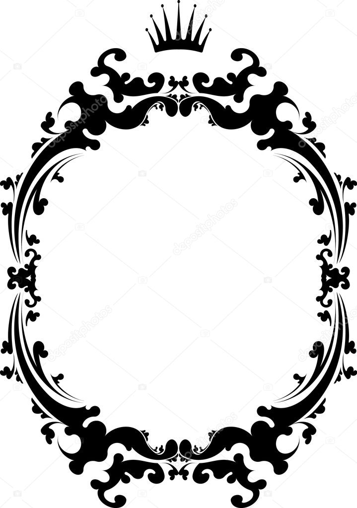 decorative vintage frame with crown stock illustration