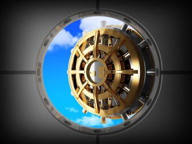 Vault bank door and sky