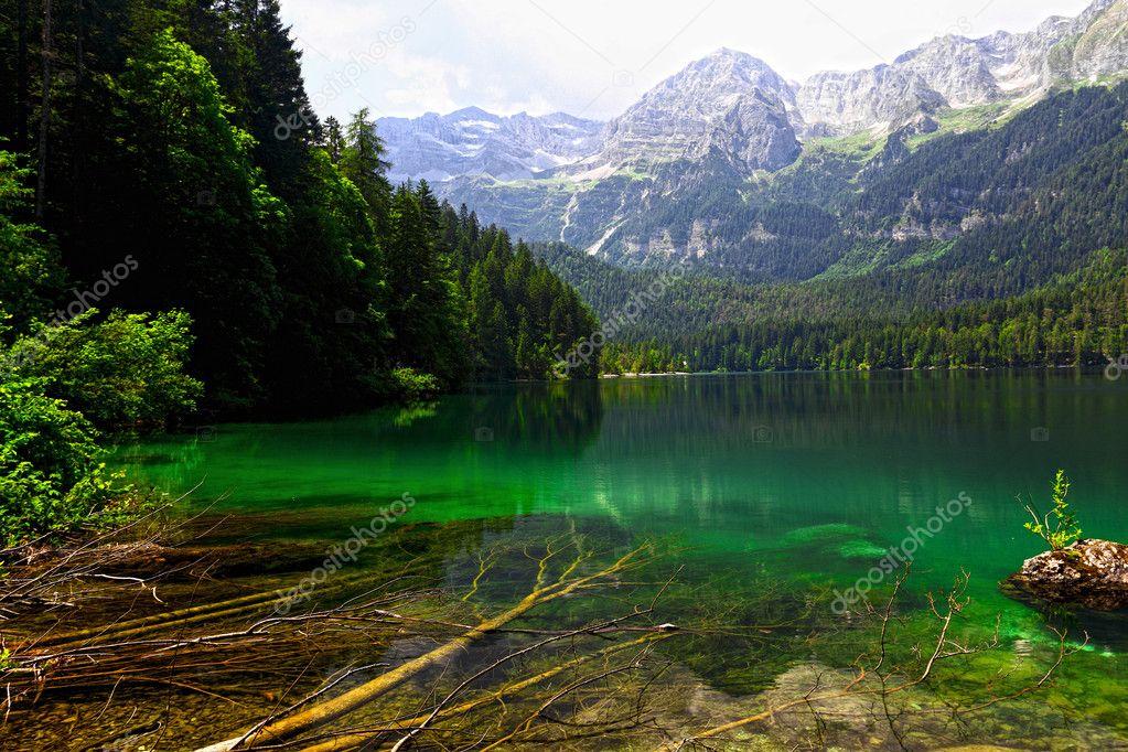 Tovel lake on alps