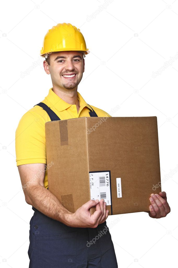 Young caucasian labor with box isolated on white