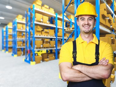 Smiling manual worker isolated warehouse 3d background stock vector