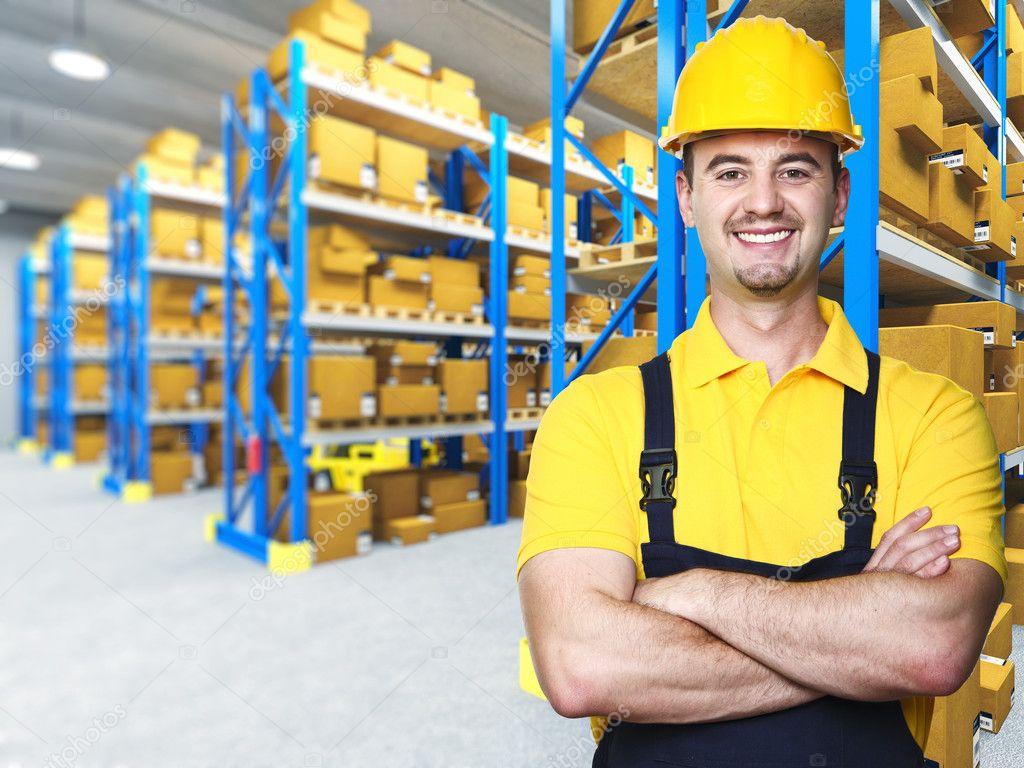 Smiling manual worker