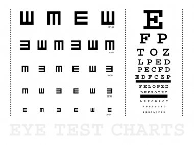 Vector Snellen eye test charts