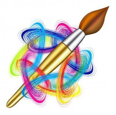 Vector artist's palette and brush on white background stock vector