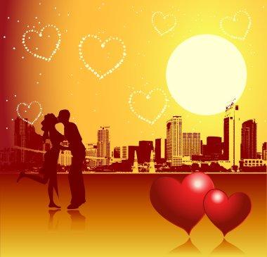 Valentine day, urban scene, couple clip art vector