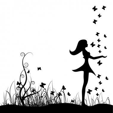 Beautiful girl on meadow, butterflies
