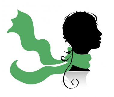 Beautiful woman, head silhouette