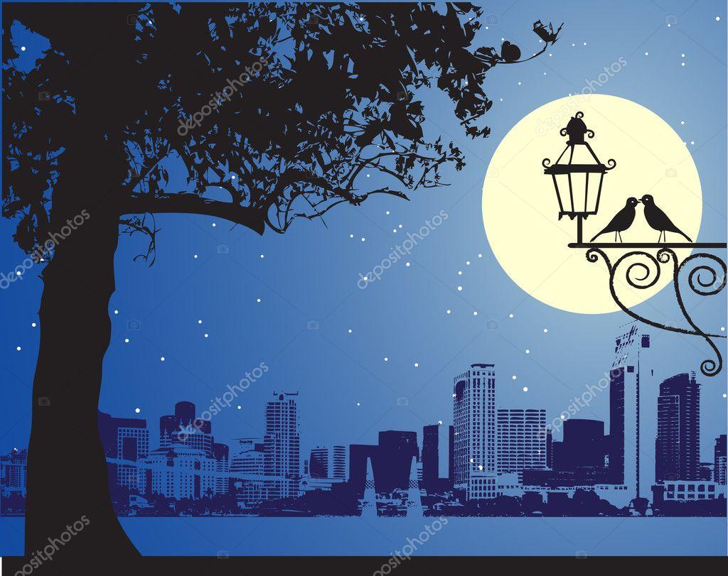 Urban night scene, idyllic