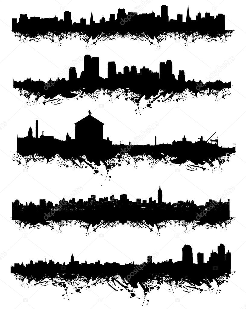 Grunge urban silhouette for your design