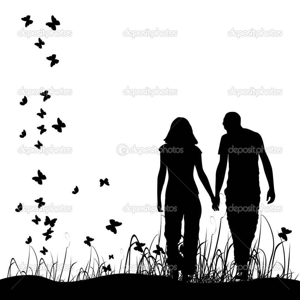 Couple on meadow, black silhouette clipart vector