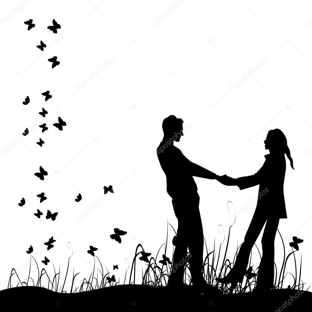 Couple on meadow, black silhouette