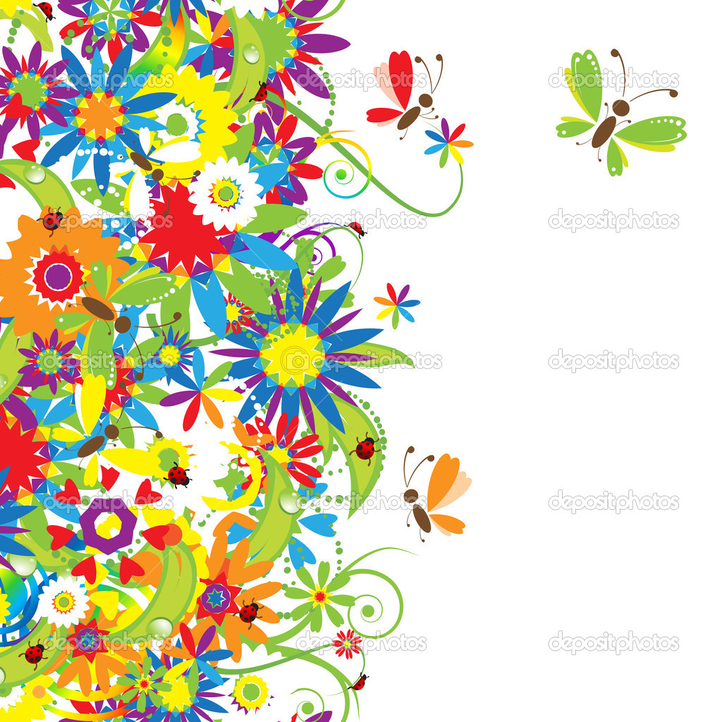 Summer day. Floral seamless background