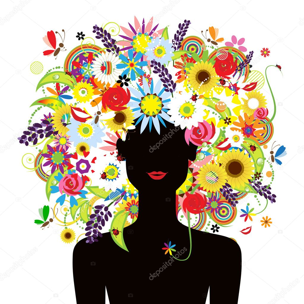 Summer face, woman with floral hairstyle