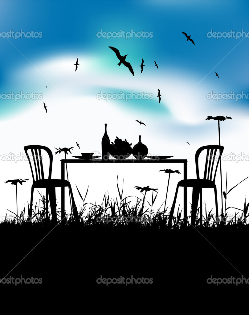 Romantic dinner for two person on nature