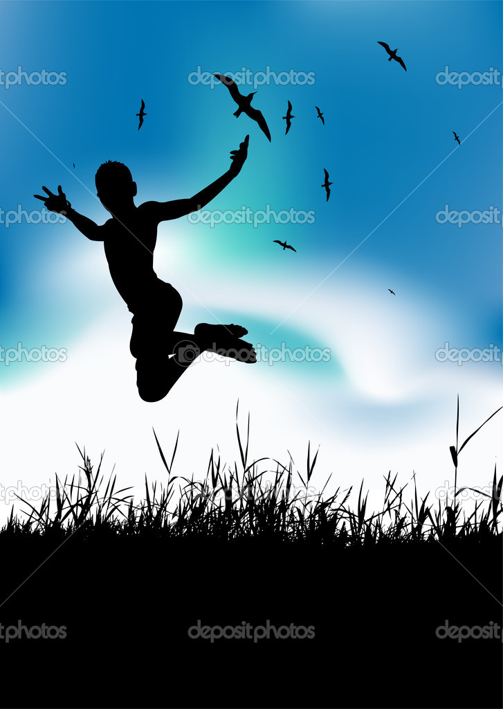 Summer holiday, man is jumping on meadow, black silhouette