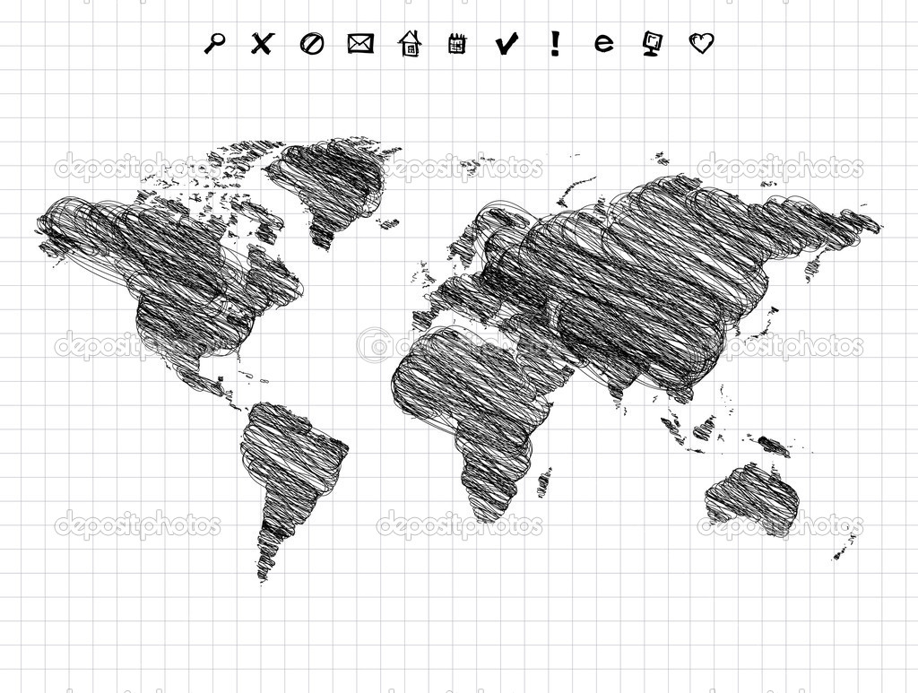 World map drawing pencil sketch stock vector kudryashka 3210374 world map drawing pencil sketch stock vector gumiabroncs Gallery
